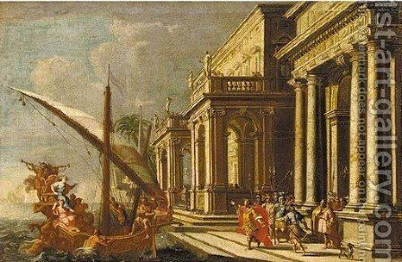The meeting of Antony and Cleopatra by (after) Jacobus Saeys - Reproduction Oil Painting