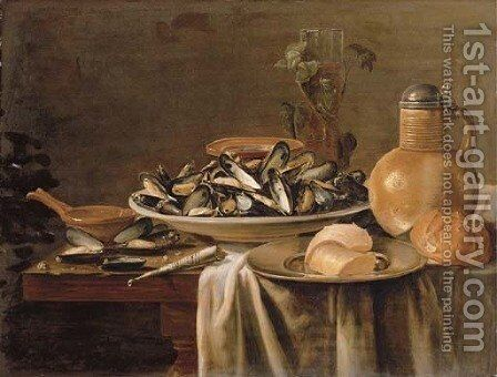Mussels in a porcelain bowl by (after) Jacob Fopsen Van Es - Reproduction Oil Painting