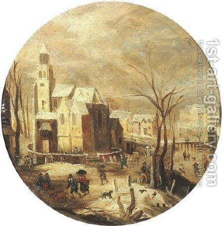 A winter landscape with skaters on a frozen waterway by a castle, peasants returning from market nearby by (after) Jacob Grimmer - Reproduction Oil Painting