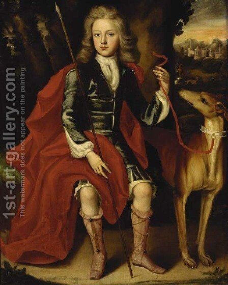 Portrait of a young huntsman, seated full-length, in a blue coat with a crimson wrap, holding a spear, a hound at his side by (after) Huysmans, Jacob - Reproduction Oil Painting
