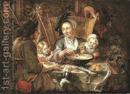 A peasant family dining in an interior by (after) Jacob Jordaens - Reproduction Oil Painting