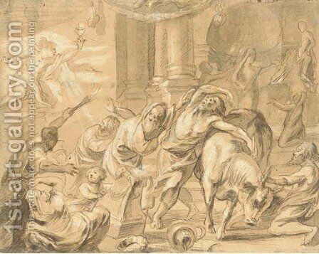 Interior of a pagan temple, perhaps The Prophet Elijah and the Priests of Baal by (after) Jacob Jordaens - Reproduction Oil Painting
