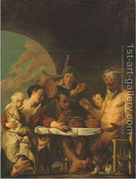 The Satyr and the Peasant 2 by (after) Jacob Jordaens - Reproduction Oil Painting