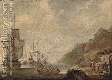 The Dutch fleet lying off a rocky shore with an officer being rowed out by (after) Jacob Knyff - Reproduction Oil Painting