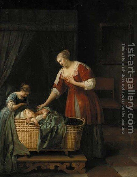A mother watching over her sleeping baby, with her sister, in an interior by (after) Jacob Ochtervelt - Reproduction Oil Painting