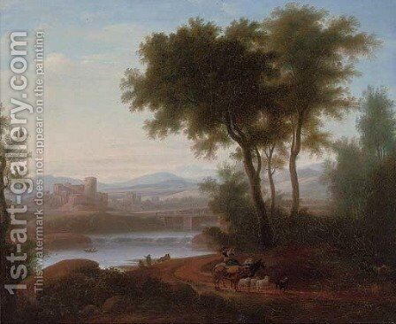 An Italianate river landscape with a drover playing a flute, his cattle on a track, a fisherman beyond by (after) Jacob Philipp Hackert - Reproduction Oil Painting