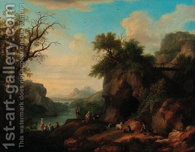 A mountainous wooded river landscape with a goatherd and flock, peasant women in the foreground by (after) Jakob Philippe Hackert - Reproduction Oil Painting