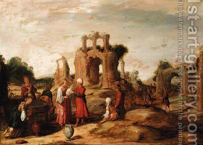 Rebecca and Eliezer at the Well by (after) Jacob Pynas - Reproduction Oil Painting
