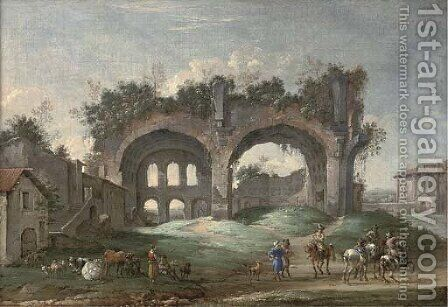 A classical Roman capriccio with travellers near the Temple of Vesta and other ruins by (after) Jacob Van Der Ulft - Reproduction Oil Painting