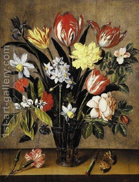 Tulips, daffodils, carnations, a rose and an iris in a berkemeyer with a butterfly on a wooden ledge by (after) Jacob Van Hulsdonck - Reproduction Oil Painting