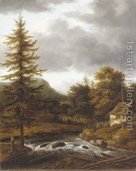 A wooded landscape with a riverside cottage by (after) Jacob Van Ruisdael - Reproduction Oil Painting