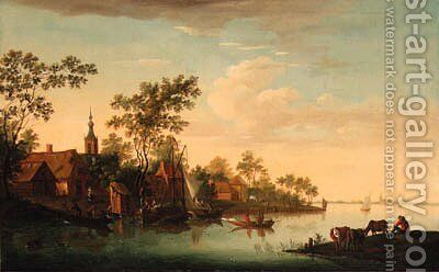 A village on a river by (after) Jacob Van Strij - Reproduction Oil Painting