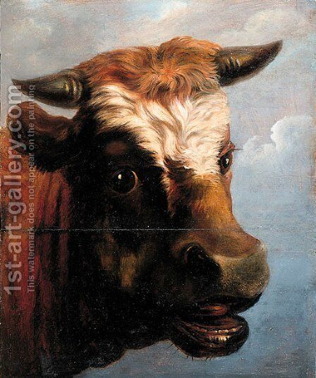 Head of a bull by (after) Jacob Van Strij - Reproduction Oil Painting