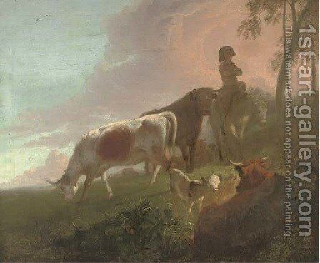 A landscape with a mounted drover and his cattle at twilight by (after) Jacob Van Stry - Reproduction Oil Painting