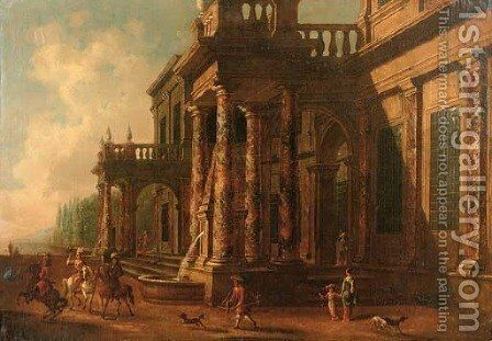 A classical villa with elegant figures on a falconry hunt by (after) Jacobus Saeys - Reproduction Oil Painting