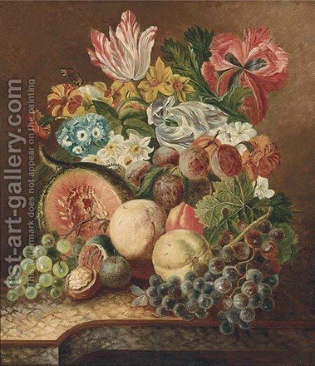 Grapes on the vine by (after) Johannes Or Jacobus Linthorst - Reproduction Oil Painting