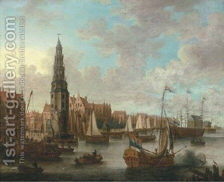 A view of the IJ, Amsterdam with the Haringpakkerstoren by (after) Jacobus Storck - Reproduction Oil Painting