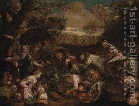 Moses striking the Rock by (after) Jacopo Bassano (Jacopo Da Ponte) - Reproduction Oil Painting