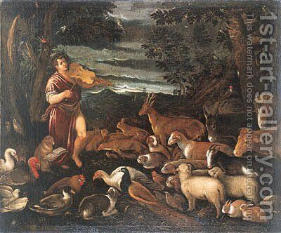 Orpheus charming the Animals by (after) Jacopo Bassano (Jacopo Da Ponte) - Reproduction Oil Painting