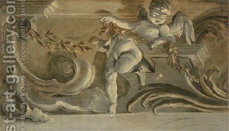 A cornice with a putti holding an olive branch; en grisaille by (after) Jacopo Guarana - Reproduction Oil Painting