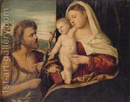The Madonna and Child with Saint John the Baptist by (after) Jacopo D'Antonio Negretti (see Palma Giovane) - Reproduction Oil Painting