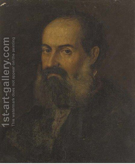 Portrait of a bearded man by (after) Jacopo Tintoretto (Robusti) - Reproduction Oil Painting