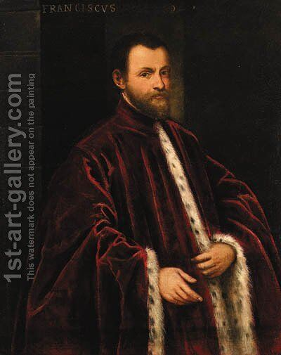 Portrait of a Venetian nobleman by (after) Jacopo Tintoretto (Robusti) - Reproduction Oil Painting