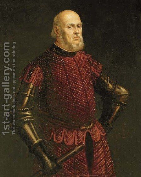 Portrait of a Venetian officer by (after) Jacopo Tintoretto (Robusti) - Reproduction Oil Painting