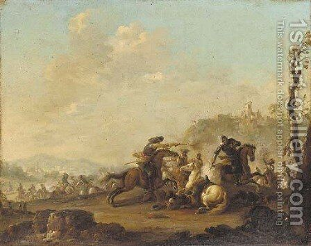 A cavalry engagement by (after) Jacques (Le Bourguignon) Courtois - Reproduction Oil Painting