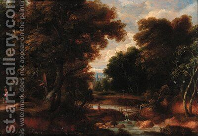 A wooded river landscape with figures on a track, a church beyond by (after) Jacques D' Arthois - Reproduction Oil Painting