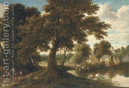 A wooded village landscape with a drover and his cattle crossing a ford and figures on a track by (after) Jacques D' Arthois - Reproduction Oil Painting