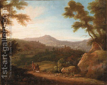 Italianate Landscapes with Hunters at Sunrise and Sunset by (after) Jacques D' Arthois - Reproduction Oil Painting