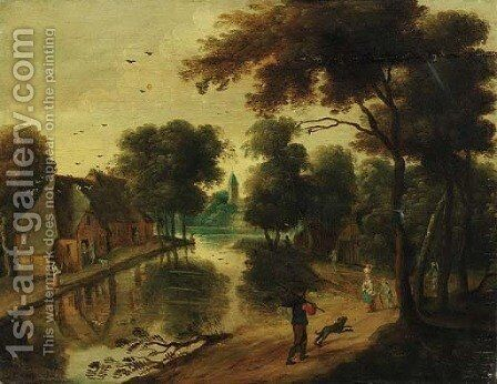A river landscape with cottages and peasants by (after) Jacques Foucquieres - Reproduction Oil Painting