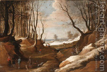 A winter Landscape with Faggot Gatherers and Travellers on a Path by (after) Jacques Foucquieres - Reproduction Oil Painting
