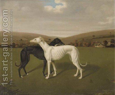 A Pair Of Greyhounds by (after) Jacques Laurent Agasse - Reproduction Oil Painting