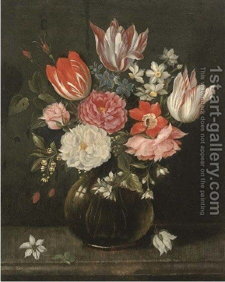 Parrot tulips, narcissi, roses, anemones and other flowers in a glass vase on a stone ledge by (after) Jakob Marrel - Reproduction Oil Painting
