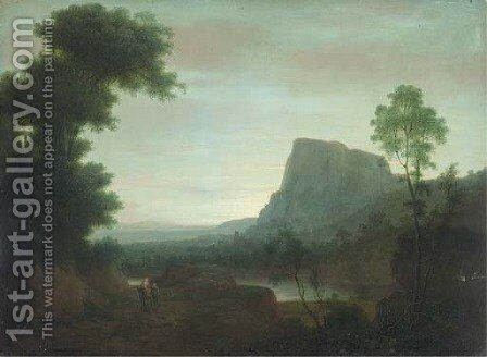 An extensive mountainous landscape with the Flight from Egypt by (after) Jakob Philippe Hackert - Reproduction Oil Painting