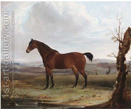 A bay hunter in an extensive landscape by (after) James Barenger - Reproduction Oil Painting