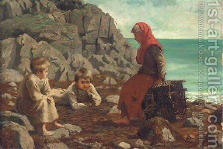 Waiting on the shore by (after) James Clark Hook - Reproduction Oil Painting