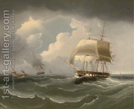 A frigate running down the Channel by (after) James E. Buttersworth - Reproduction Oil Painting