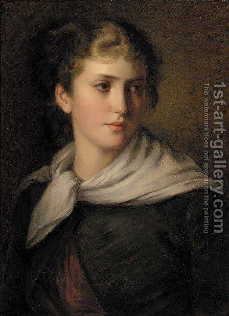 A young beauty by (after) James John Hill - Reproduction Oil Painting