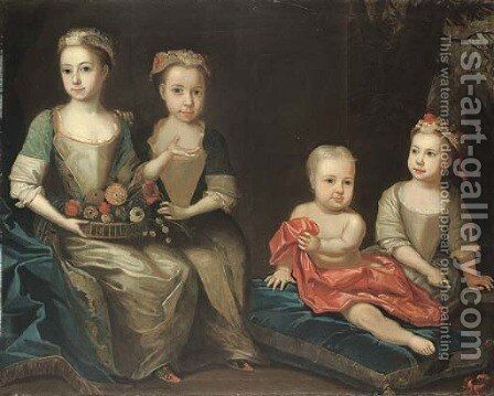 Group portrait of the Holdsworth children by (after) James Francis Mauber - Reproduction Oil Painting