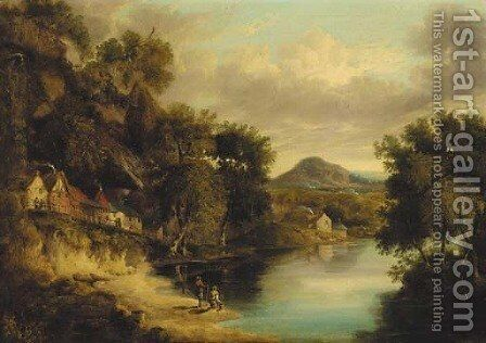 Anglers on the bank of a lake in a wooded landscape, a village beyond by (after) James Poole - Reproduction Oil Painting
