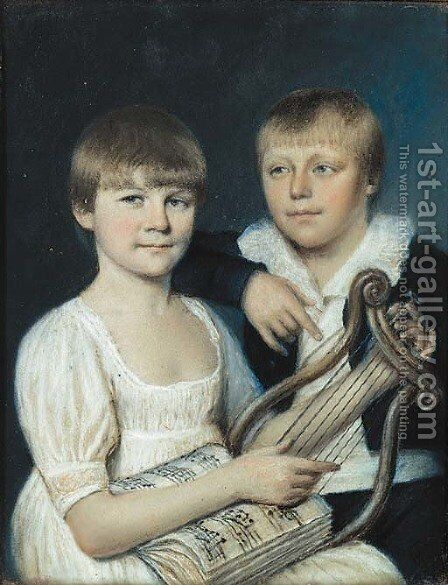Portrait of Anthony and Eliza Strutt by (after) James Sharples - Reproduction Oil Painting
