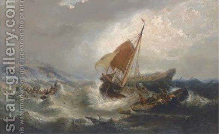 Salvaging the wreck below Dunstanburgh Castle by (after) James Webb - Reproduction Oil Painting