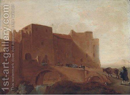 Herdsman crossing a bridge with their cattle, a fortified town beyond by (after) Jan Asselyn - Reproduction Oil Painting
