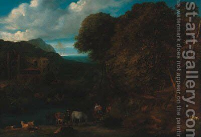 A wooded river landscape with peasants on a track, a ruin beyond by (after) Jan Baptist Huysmans - Reproduction Oil Painting