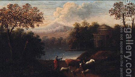 River landscapes with drovers on paths, castles beyond by (after) Jan Baptist Huysmans - Reproduction Oil Painting