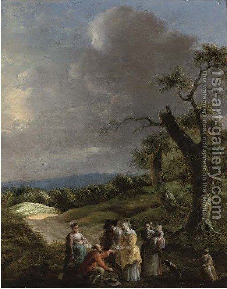 A wooded landscape with a man selling a dove to a lady on a path by (after) Jan Baptist Wolfaerts - Reproduction Oil Painting