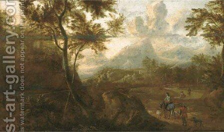 A wooded landscape with travellers on a path by (after) Jan Both - Reproduction Oil Painting